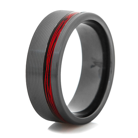 Men's Black Ring with Offset Fire Red Fishing Wire Inlay