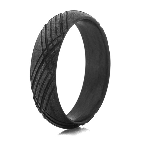 Men's Black Matte Tartan Carbon Fiber Ring