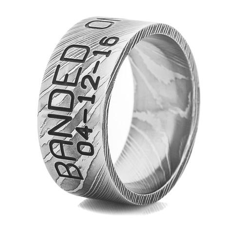 Men's Acid Finish Damascus Steel Duck Band Ring