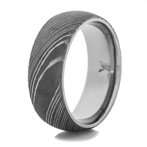 Men's Damascus Steel Ring with Titanium Sleeve