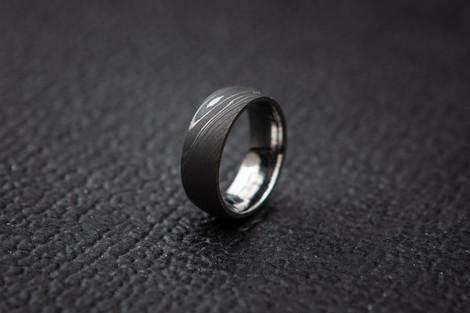 Men's Damascus Steel Ring with Titanium Sleeve