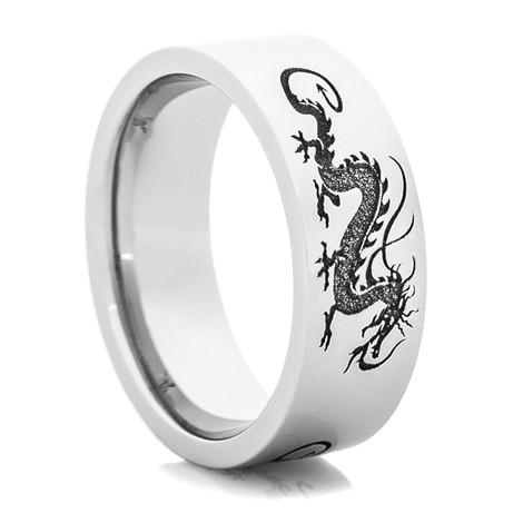Men's Laser-Carved Cobalt Dragon Ring