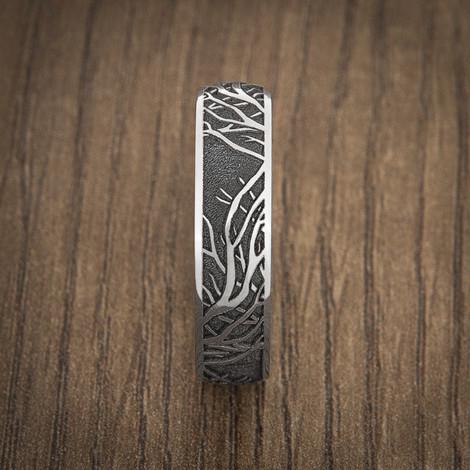 Men's Laser-Carved Titanium Tree Branch Ring