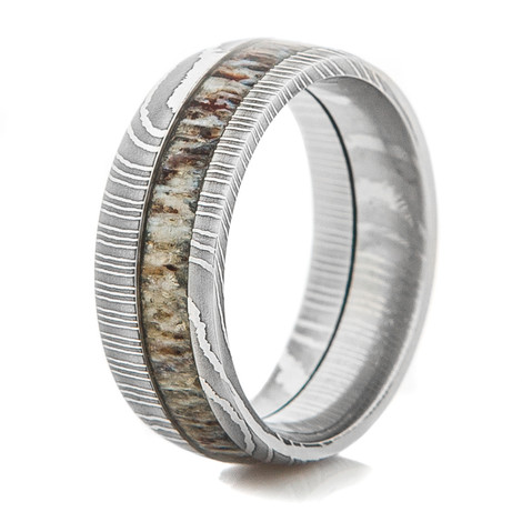 Men's Damascus Steel Ring with Offset Antler Inlay