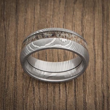 Men's Damascus Steel Ring with Offset Antler Inlay