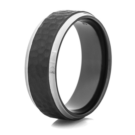 Men's Hammered Black Zirconium Ring with Silver Polished Edges