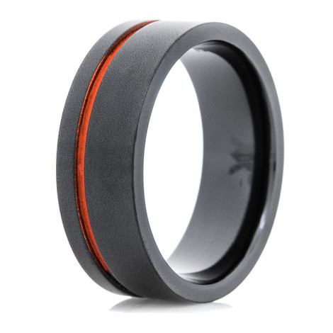Men's Flat Black Wedding Ring with Offset Orange Inlay
