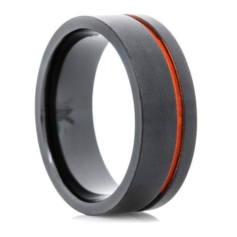 Men's Flat Black Wedding Ring with Offset Orange Inlay