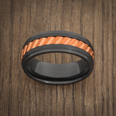 Men's Black and Copper Inlay Gear Spinner Ring