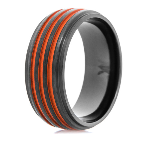 Men's Matte Black Ring with Triple Bold Orange Grooves