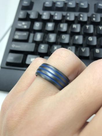 Men's Matte Black Ring with Triple Blue Grooves Wedding Ring, 9mm Width