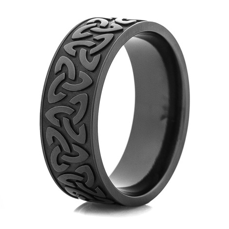 Men's Black Trinity Symbol Wedding Ring