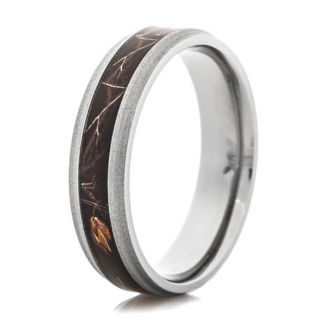 Men's Narrow Titanium Realtree® AP Black Camo Ring