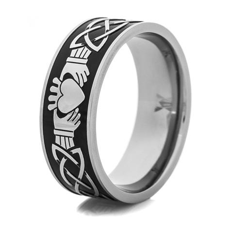 Men's Titanium Black and Silver Claddagh Wedding Ring