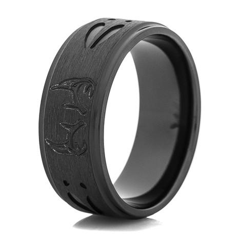 Men's Black on Black Deer Antler and Tracks Ring