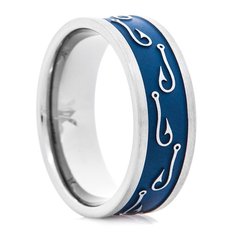 Men's Blue Titanium Fish Hook Wedding Ring