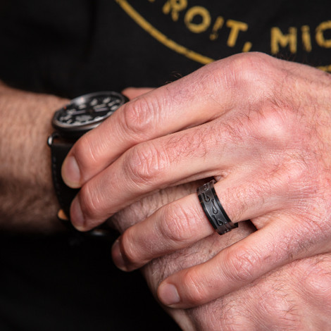 Men's Blacked Out Fish Hook Wedding Band