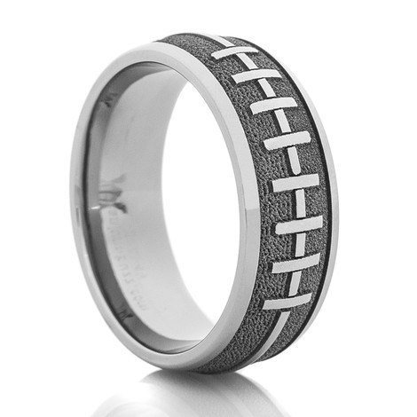 Men's Laser-Carved Titanium 3D Football Laces Wedding Ring