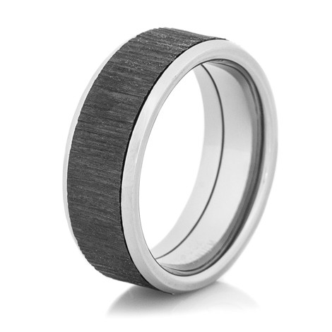 Men's Titanium Ring with Black Tree Bark Inlay