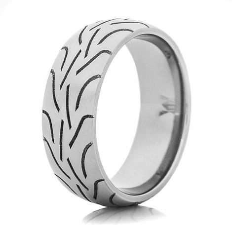 Men's Laser-Carved Titanium Tread Ring