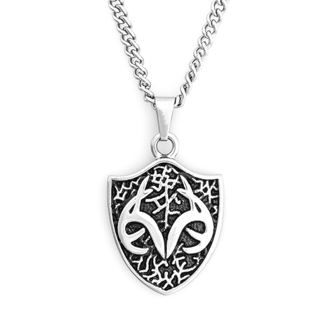 Men's Stainless Steel Necklace with Realtree Shield Pendant