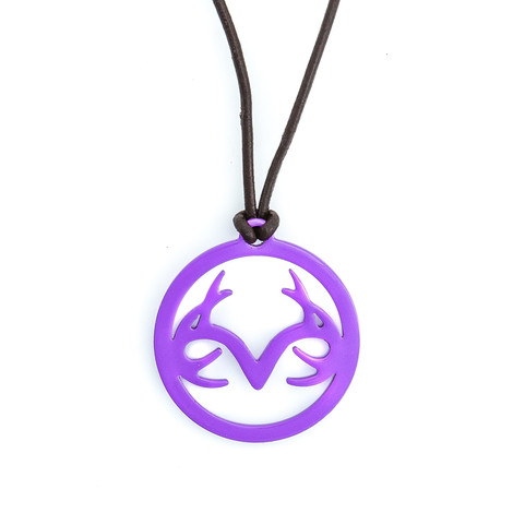 Women's Leather Necklace with Purple Stainless Steel Realtree Logo