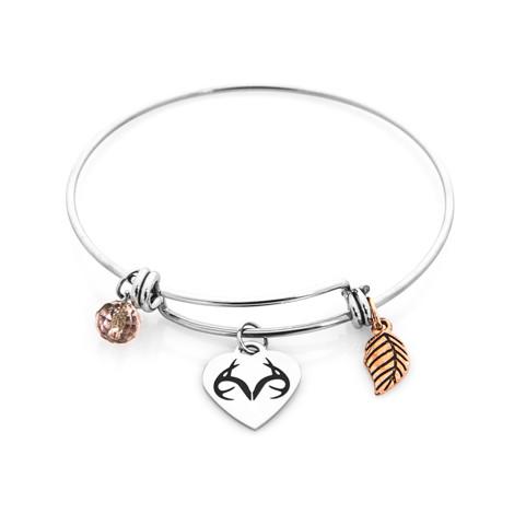 Women's Stainless Steel Realtree Charm Bracelet