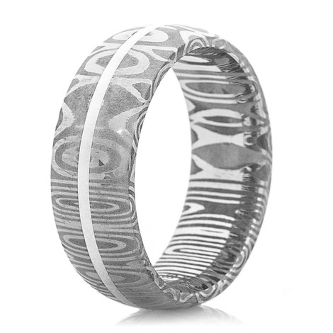 Men's Dome Profile Damascus Steel Ring with Sterling Silver Inlay