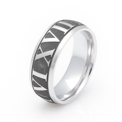 Men's Laser Engraved Titanium Roman Numeral Ring