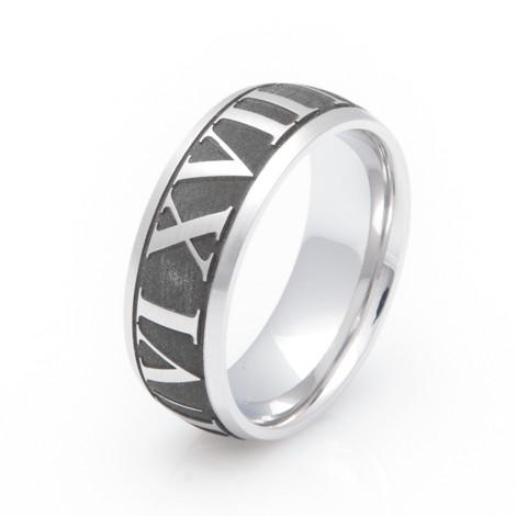 Men's Laser Engraved Titanium Roman Numeral Ring