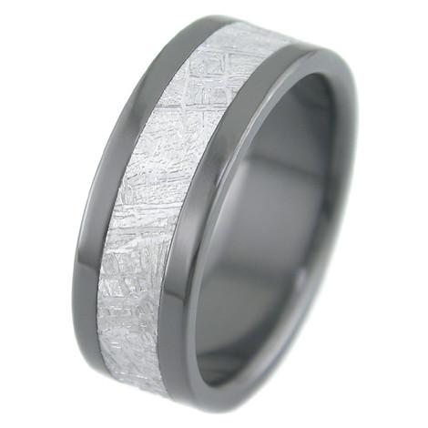 Men's Flat Black Zirconium Gibeon Meteorite Ring