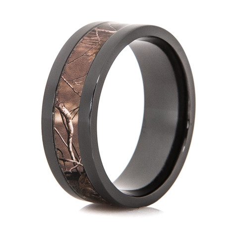 Men's Polished Black Zirconium Realtree® Patterned Camo Ring