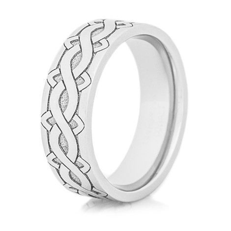 Cobalt Laser Carved Celtic Weave Ring