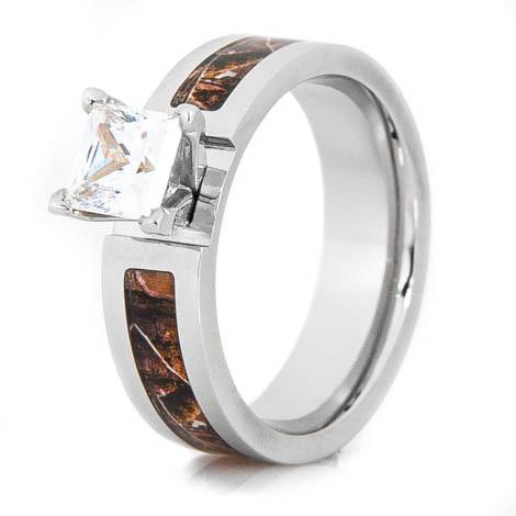 Women's Cobalt Chrome Realtree® Camo Princess Cut Engagement Ring