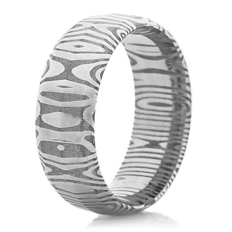 Men's Peaked Damascus Steel Ring