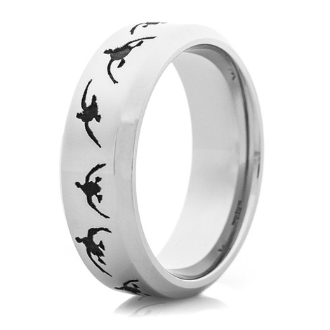 Men's Flying Ducks Wedding Band