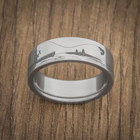 Men's Titanium Fishing and Elk Hunting Scene Ring