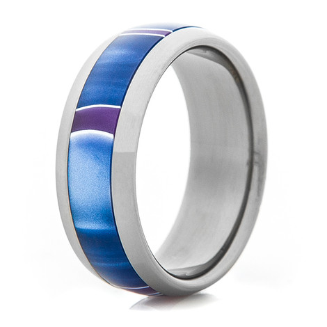 Titanium Ring with Blue & Purple Inlay