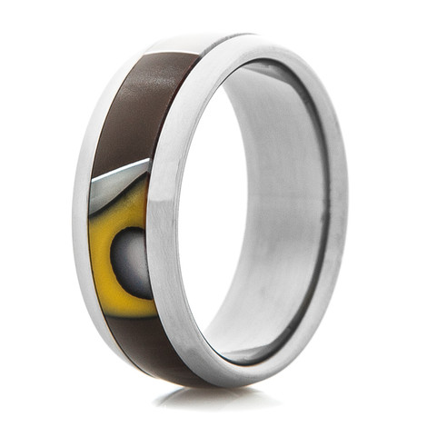 Titanium Ring with Brown & Yellow Inlay