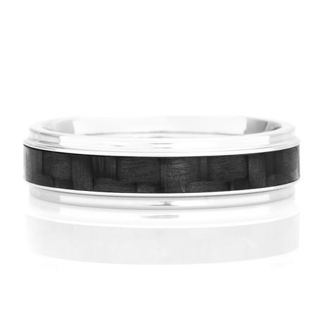 Men's Cobalt Chrome Narrow Carbon Fiber Grooved Edge Ring