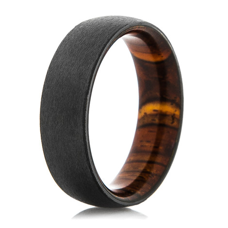 Men's Black Zirconium Ring with Cocobolo Wood Sleeve