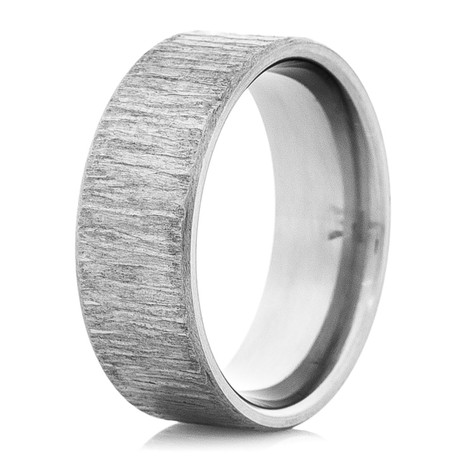 Dome Profile Titanium Ring with Treebark Texture