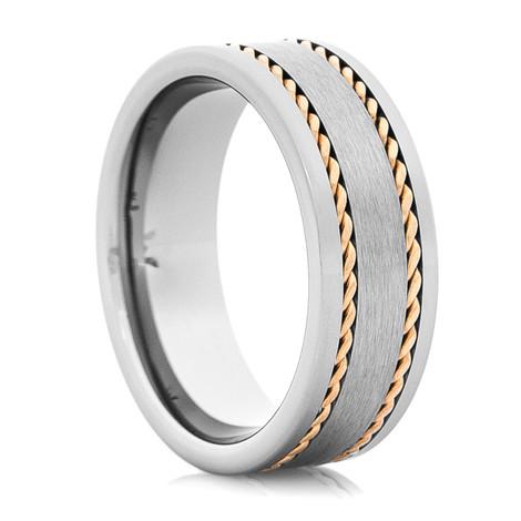 Men's Tungsten Wedding Band with Dual 14K Rose Gold Braids