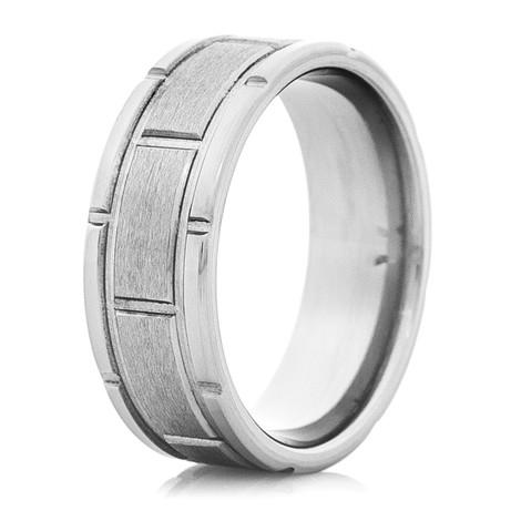 Men's Segmented Titanium Ring with Dual Grooves