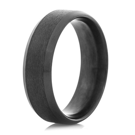 Men's Dual Finish Black Zirconium Ring with Beveled Edge