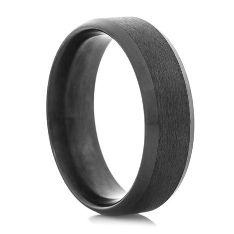 Men's Dual Finish Black Zirconium Ring with Beveled Edge