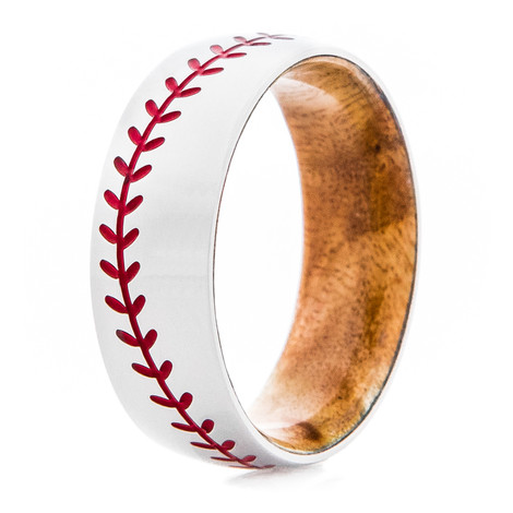 Men's Titanium Baseball Ring with Wood Sleeve