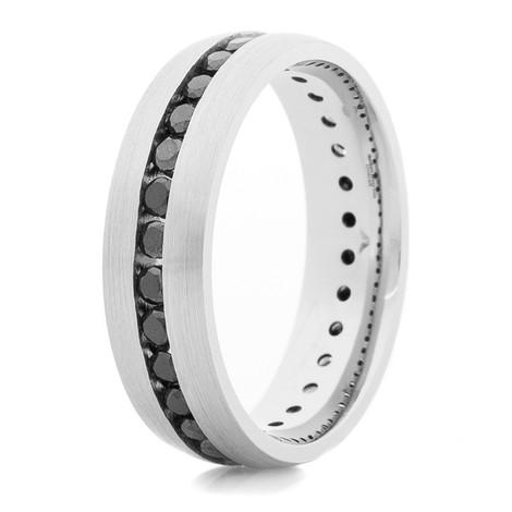 Women's Cobalt Eternity Ring with Black Diamonds