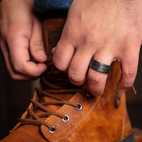 Men's Carbon Fiber Tire Tread Wedding Bands