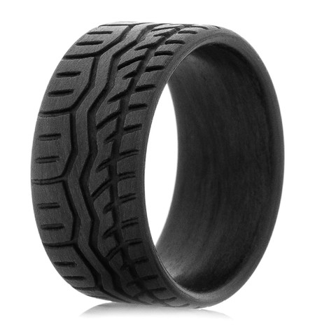 Men's Carbon Fiber Tire Tread Wedding Bands